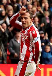 Stoke City's Xherdan Shaqiri celebrates scoring his side's first goal of the game