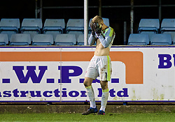 RHYL, WALES - Wednesday, November 14, 2018: Wales' goalkeeper George Williams shows a look of dejection following a 1-2 defeat in the UEFA Under-19 Championship 2019 Qualifying Group 4 match between Wales and Scotland at Belle Vue. (Pic by Paul Greenwood/Propaganda)