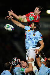 Gloucester Lock (#4) Elliott Stooke and Perpignan replacement (#19) Jean-Pierre Perez compete at a lineout during the second half of the match - Photo mandatory by-line: Rogan Thomson/JMP - Tel: 07966 386802 - 12/10/2013 - SPORT - RUGBY UNION - Kingsholm Stadium, Gloucester - Gloucester Rugby v USA Perpignan - Heineken Cup Round 1.