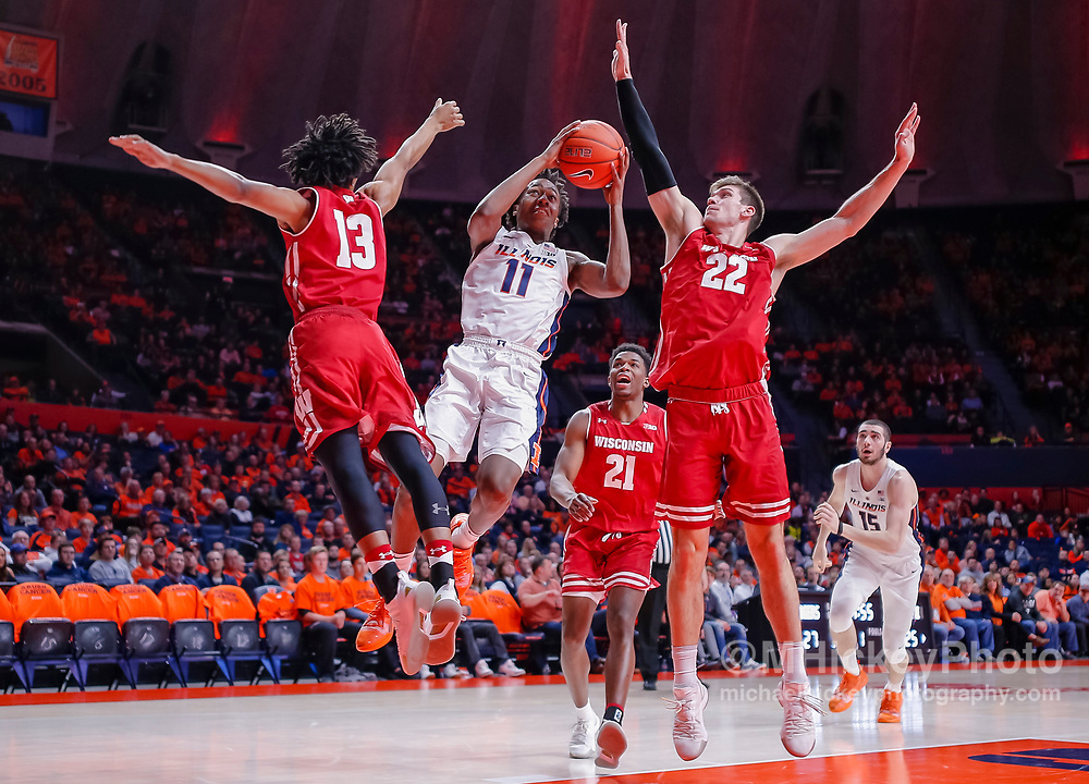 CHAMPAIGN, IL - JANUARY 23: Ayo Dosunmu #11 of the Illinois Fighting Illini shoots the ball during the game against the Wisconsin Badgers at State Farm Center on January 23, 2019 in Champaign, Illinois. (Photo by Michael Hickey/Getty Images) *** Local Caption *** Ayo Dosunmu