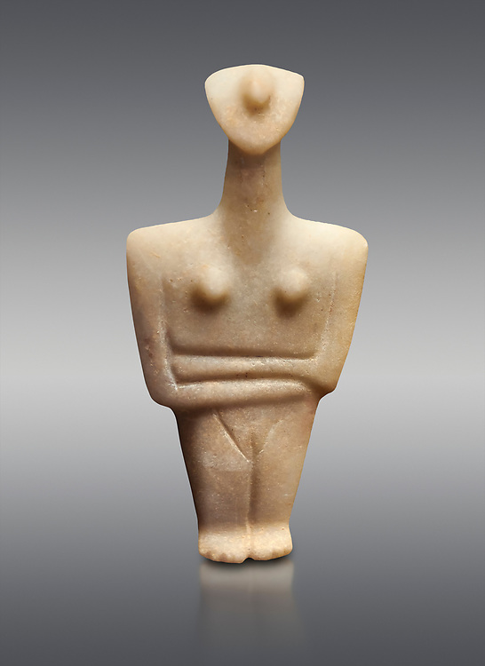 Marble female Cycladic statue figurine with folded arms. Early Cycladic Period II (2800-2300 BC) from Chalandriani, Syros. National Archaeological Museum, Athens.   Grey background. .<br /> <br /> If you prefer to buy from our ALAMY PHOTO LIBRARY  Collection visit : https://www.alamy.com/portfolio/paul-williams-funkystock/cycladic-art-artefacts.html Type into the LOWER SEARCH WITHIN GALLERY box to refine search by adding background colour, place, museum etc<br /> <br /> Visit our CYCLADIC CIVILISATIONS PHOTO COLLECTIONS for more photos to download or buy as wall art prints https://funkystock.photoshelter.com/gallery-collection/Cycladic-civilisation-Ancient-Greek-Artefacts-art-Photos-Pictures-Images/C0000CmevVvnC.XU