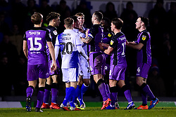 Alex Rodman of Bristol Rovers is challenged by Antony Kay of Port Vale, Emmanuel Oyeleke of Port Vale and Luke Hannant of Port Vale - Mandatory by-line: Ryan Hiscott/JMP - 22/01/2019 - FOOTBALL - Memorial Stadium - Bristol, England - Bristol Rovers v Port Vale - Checkatrade Trophy