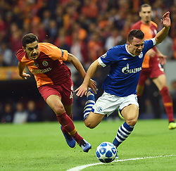 ISTANBUL, Oct. 25, 2018  Ozan Kabak (L) of Galatasaray vies with Yevhen Konoplyanka of Schalke 04 during the Group D match of the UEFA Champions League between Turkey's Galatasaray and Germany's Schalke 04 in Istanbul, Turkey, on Oct. 24, 2018. The match ended 0-0. (Credit Image: © Xinhua via ZUMA Wire)