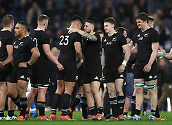 November 24, 2018 - Rome, Italy - Italy v New Zealand All Blacks - Rugby Cattolica Test Match.New Zealands Rieko Ioane and New Zealands TJ Perenara celebrate at Olimpico Stadium in Rome, Italy on November 24, 2018. (Credit Image: © Matteo Ciambelli/NurPhoto via ZUMA Press)