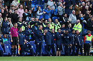 Cardiff city manager Neil Warnock © celebrates after Sol Bamba of Cardiff city scores his teams 1st goal in injury time. EFL Skybet championship match, Cardiff city v Sheffield Wednesday at the Cardiff City Stadium in Cardiff, South Wales on Saturday 16th September 2017.<br /> pic by Andrew Orchard, Andrew Orchard sports photography.