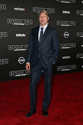 Celebrity arrivals at the world premiere of Walt Disney Pictures and Lucasfilm's 'Rogue One: A Star Wars Story' at the Pantages Theatre in Hollywood, California. 11 Dec 2016 Pictured: Mads Mikkelsen. Photo credit: @parisamichelle / MEGA TheMegaAgency.com +1 888 505 6342