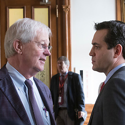 State Rep. Charlie Geren, R- Fort Worth, l, helps cool down  State Rep. Matt Rinaldi, a Dallas lawyer, r, shown during his career at the Texas Capitol in 2017. Rinaldi will succeed Allen West as chair of the Republican Party of Texas. Rinaldi was involved in a shoving incident with another state representative on the House floor.  (Bob Daemmrich/CapitolPressPhoto)