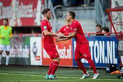 (L-R) Jelle van der Heijden of FC Twente, Michael Liendl of FC Twente during the Dutch Eredivisie match between FC Twente and VVV Venlo at the Grolsch Veste on August 19, 2017 in Enschede, The Netherlands
