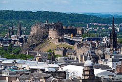 View of Edinburgh Castle from Salisbury Crags in Edinburgh, Scotland, United Kingdom