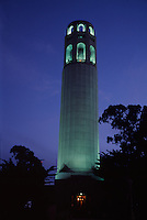 Coit Tower at night, Telegraph Hill, San Francisco, California.