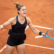 PARIS, FRANCE June 5.  Maria Sakkari of Greece peeps for joy as she celebrates her victory against Elise Mertens of Belgium on CourtSimonne Mathieu during the third round of the singles competition at the 2021 French Open Tennis Tournament at Roland Garros on June 5th 2021 in Paris, France. (Photo by Tim Clayton/Corbis via Getty Images)