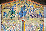 Detail  Byzantine Mosaic panel depicting Christ Pantocrator and the Apostles on the Basilica of San Frediano, a Romanesque church, Lucca, Tunscany, Italy