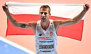 Marcin Lewandowski (POL) celebrates after winning silver medal in the Men's 1500m Final in a time of 3.58.39 session of the IAAF World Indoor Championships at Arena Birmingham in Birmingham, United Kingdom on Saturday, Mar 2, 2018. (Steve Flynn/Image of Sport)