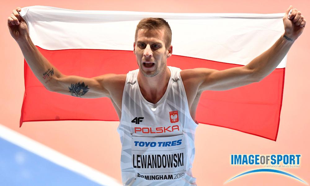 Marcin Lewandowski (POL) celebrates after winning silver medal in the Men's 1500m Final in a time of 3.58.39 session of the IAAF World Indoor Championships at Arena Birmingham in Birmingham, United Kingdom on Saturday, Mar 2, 2018. (Steve Flynn/Image of Sport)
