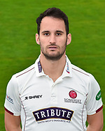 Head shot.  Lewis Gregory wearing the Somerset Specsavers County Championship kit at the media day at Somerset County Cricket Club at the Cooper Associates County Ground, Taunton, United Kingdom on 11 April 2018. Picture by Graham Hunt.