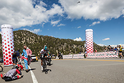 May 18, 2018 - Nevada, U.S - EGAN BERNAL passes over Daggett Summitt, 7334 ft, along Kingsbury Grade Rd, and regains the Amgen Tour of California race lead, dominating climbs on the penultimate race day during the Amgen Tour of California on Friday, May 18, 2018. ..Egan Bernal, Team Sky's 21-year-old Colombian rider, may have lost his King of the Mountains lead to Trek-Segafredo's Toms Skujin (LAT) in today's mountainous stage, but he regained the overall Amgen Tour of California race lead with a daring solo uphill finish that pulled him +1.25'' ahead of BMC Racing Team's Tejay van Garderen (Tacoma, Wash.), who now sits second overall going into tomorrow's Sacramento race finale. (Credit Image: © Tracy Barbutes via ZUMA Wire)