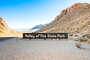 Valley of Fire State Park, Nevada. Entrance sign
