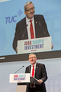 Len McClusky of Unite speaking at the TUC congress 2016, Brighton. UK.