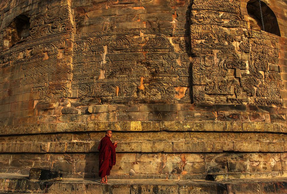 Pilgrim buddhist monk, Sarnath, Varanasi, Uttar Pradesh