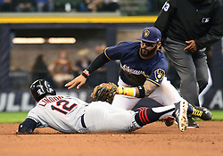 May 9, 2018 - Milwaukee, WI, U.S. - MILWAUKEE, WI - MAY 09: Cleveland Indians Shortstop Francisco Lindor (12) is tagged out by Milwaukee Brewers Second base Jonathan Villar (5) after he slid off the base during a MLB game between the Milwaukee Brewers and Cleveland Indians on May 9, 2018 at Miller Park in Milwaukee, WI.The Indians defeated the Brewers 6-2.(Photo by Nick Wosika/Icon Sportswire) (Credit Image: © Nick Wosika/Icon SMI via ZUMA Press)