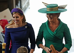Princess Beatrice of York and Sarah, Duchess of York arrive at the wedding of Princess Eugenie to Jack Brooksbank at St George's Chapel in Windsor Castle.