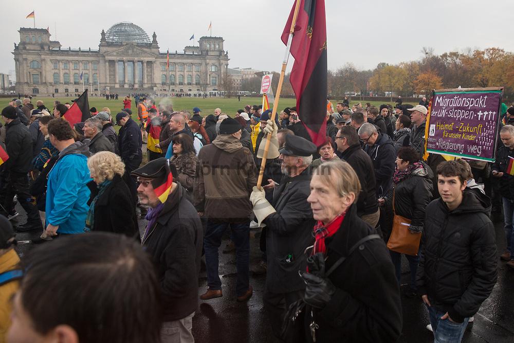Berlin, Germany - 11.11.2018<br /> <br /> AfD protest march in Berlin's government district against the UN migration pact.<br /> <br /> AfD-Demonstration im Berliner Regierungsviertel gegen den UN-Migrationspakt.<br /> <br /> Photo: Bjoern Kietzmann