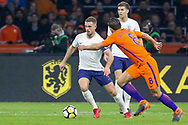 England midfielder Jordan Henderson battles with Netherlands Midfielder Kevin Strootman (Roma), during the Friendly match between Netherlands and England at the Amsterdam Arena, Amsterdam, Netherlands on 23 March 2018. Picture by Phil Duncan.