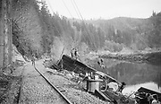 """9335-343 """"Wreck on Toledo Branch in February 1962"""" This line went from Corvallis to Toledo, mostly following the Yaquina River. Southern Pacific Train negative file."""