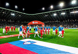 Players entering the pitch during the 2020 UEFA European Championships group G qualifying match between Slovenia and Poland at SRC Stozice on September 6, 2019 in Ljubljana, Slovenia. Photo by Vid Ponikvar / Sportida