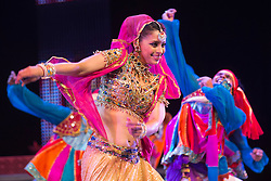 "© Licensed to London News Pictures. 29/01/2014. London, England. Picture: Carol Furtado dancing. The show ""The Merchants of Bollywood"" returns to the Peacock Theatre/Sadler's Wells from 28 January to 15 February 2014. Photo credit: Bettina Strenske/LNP"