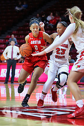 NORMAL, IL - December 04: Nieja Crawford defended by Viria Livingston during a college women's basketball game between the ISU Redbirds  and the Austin Peay Governors on December 04 2018 at Redbird Arena in Normal, IL. (Photo by Alan Look)