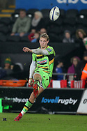 Harry Mallinder of Northampton Saints kicks a conversion. European Rugby Champions Cup, pool 2 match, Ospreys v Northampton Saints at the Liberty Stadium in Swansea, South Wales on Sunday 17th December 2017.<br /> pic by  Andrew Orchard, Andrew Orchard sports photography.