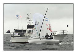 470 Class European Championships Largs - Day 2.Wet and Windy Racing in grey conditions on the Clyde...SUI16, Yannick BRAUCHLI, Romuald HAUSSER, Segel Club Enge...