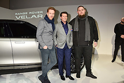 Left to right, Damian Lewis, Gerry McGovern and Rag'n'Bone Man (Rory Graham) at the Range Rover Velar Global Reveal at The Design Museum, London England. 1 March 2017.