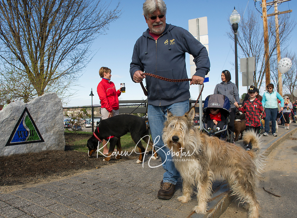 """Bob and his Berger Picard """"BO"""" head out onto the WOW Trail for Saturday's Bow Wow Fest at Opechee Inn and Spa.  (Karen Bobotas/for the Laconia Daily Sun)"""