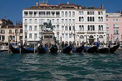 Venice (Italy) 19-02-07 - Gondolas near Londra Palace Hotel in laguna.