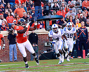CHARLOTTESVILLE, VA- NOVEMBER 12:  Tight end Jeremiah Mathis #81 of the Virginia Cavaliers makes a touchdown catch in front of safety Walt Canty #4 and safety Jordon Byas #38 of the Duke Blue Devils during the game on November 12, 2011 at Scott Stadium in Charlottesville, Virginia. Virginia defeated Duke 31-21. (Photo by Andrew Shurtleff/Getty Images) *** Local Caption *** Jordon Byas;Jeremiah Mathis;Walt Canty