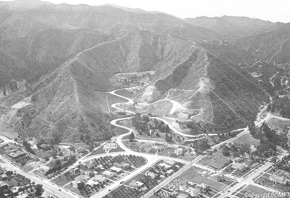 1923 Aerial photo of residence of C.F. Harper (in center of photo) and Laurel Canyon(at right)