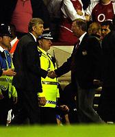 Photo. Javier Garcia<br />16/04/2003 Arsenal v Man Utd, FA Barclaycard Premiership, Highbury<br />A handshake between Arsene Wenger and Alex Ferguson at the end of an amazing game