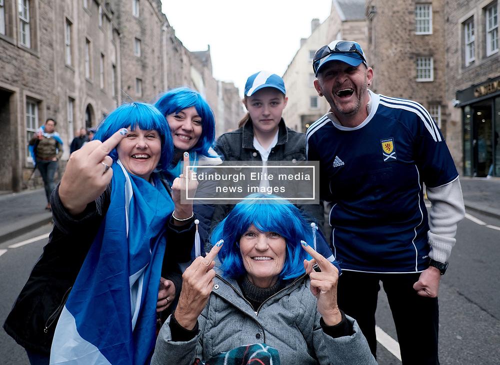 All Under One Banner March, Edinburgh, 5 October 2019<br /> <br /> Pictured: Marchers make their way to the start past the Parliament<br /> <br /> Alex Todd   Edinburgh Elite media