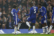Willian of Chelsea (l) celebrates after scoring his sides 3rd goal with Kurt Zouma © and Michy Batshuayi of Chelsea. The Emirates FA cup, 3rd round match, Chelsea v Peterborough Utd at Stamford Bridge in London on Sunday 8th January 2017.<br /> pic by John Patrick Fletcher, Andrew Orchard sports photography.