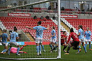 Goal 2-2 Manchester United midfielder Kirsty Hanson (18) scores the equaliser 2-2 during the FA Women's Super League match between Manchester United Women and Manchester City Women at Leigh Sports Village, Leigh, United Kingdom on 14 November 2020.