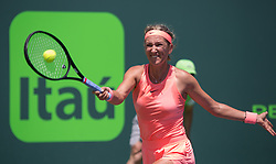 March 29, 2018 - Key Biscayne, Florida, United States - Victoria Azarenka, from Belarus, in action against Sloan Stephens, from the USA, during her semifinal match at the Miami Open in Key Biscayne in Miami, on March 29, 2018. (Credit Image: © Manuel Mazzanti/NurPhoto via ZUMA Press)