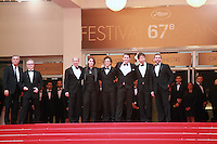Jon Kilik, Megan Ellison, Mark Ruffalo, Channing Tatum, director Bennett Miller, Steve Carell at the Foxcatcher gala screening red carpet at the 67th Cannes Film Festival France. Monday 19th May 2014 in Cannes Film Festival, France.