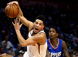 October 21, 2017 - Los Angeles, California, U.S. - Phoenix Suns guard Devin Booker drives to the basket against the Los Angeles Clippers in the first quarter during an NBA basketball game at the Staples Center on Saturday, Oct 21, 2017 in Los Angeles. .(Photo by Keith Birmingham, Pasadena Star-News/SCNG) (Credit Image: © San Gabriel Valley Tribune via ZUMA Wire)
