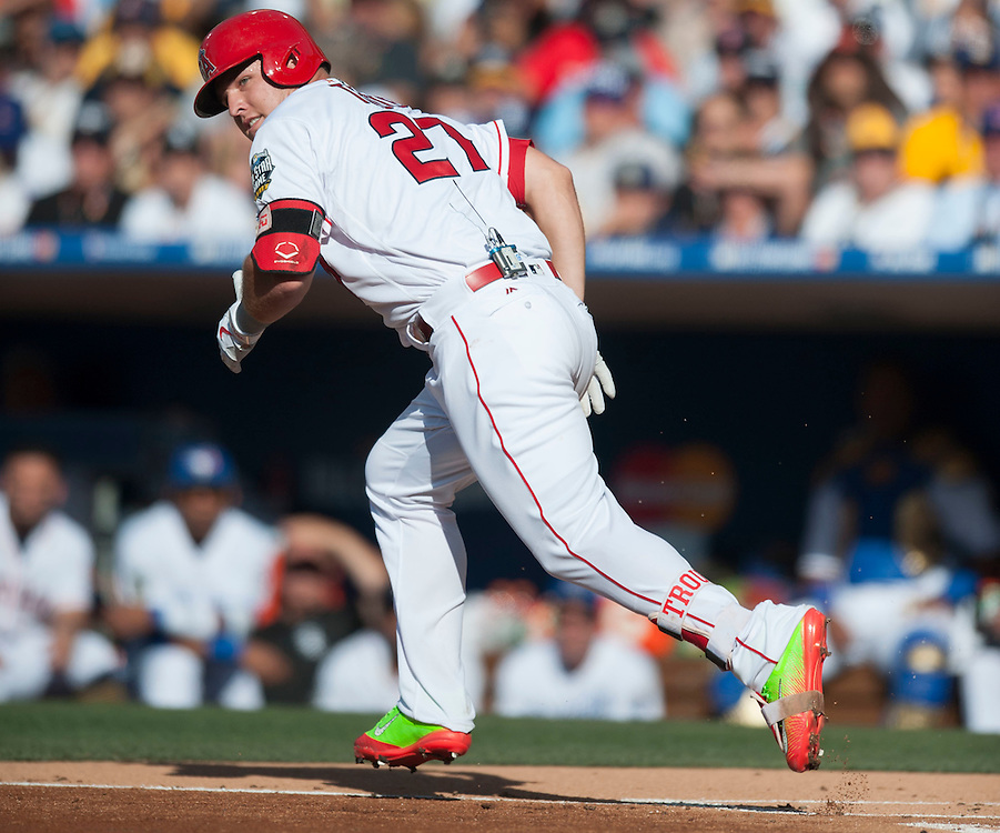 The Angels' Mike Trout gets his only hit of the game in the first inning during the 2016 MLB All-Star Game at Petco Park in San Diego on Tuesday.<br /> <br /> ///ADDITIONAL INFO:   <br /> <br /> allstar.0713.kjs  ---  Photo by KEVIN SULLIVAN / Orange County Register  -- 7/12/16<br /> <br /> The 2016 MLB All-Star Game at Petco Park in San Diego.