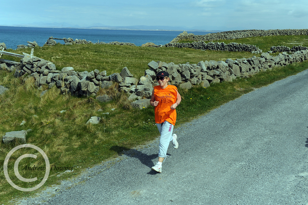 A weekend of glorious weather welcomed approximately 150 people from all over the country and abroad to Inis Mor , Arann Islands to participate in the annual Aer Arann half marathon.  Over the past ten years people have walked and ran the roads of Inis Mor to raise in excess of 1.2 million to purchase vital life saving equipment for sick children in both Crumlin and Temple Street hospitals.  MArianne Schutz  took part . Photo:Andrew Downes.