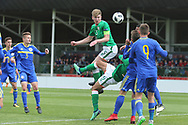 Nathan Collins of Republic of Ireland (5) heads at goal during the UEFA European Under 17 Championship 2018 match between Bosnia and Republic of Ireland at Stadion Bilino Polje, Zenica, Bosnia and Herzegovina on 11 May 2018. Picture by Mick Haynes.