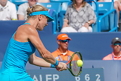 August 19, 2018 - Mason, Ohio, USA - Kiki Bertens (NED) hits a backhand shot during Sunday's final round of the Western and Southern Open at the Lindner Family Tennis Center, Mason, Oh. (Credit Image: © Scott Stuart via ZUMA Wire)