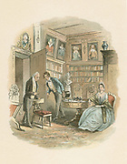 Bleak House by Charles Dickens in 1852-1823 the novel which satirised the misery caused by the old Chancery court. The cunning old lawyer Tulkinghorn who finds out Lady Dedlock's secrets, threatens to expose her. Illustration by 'Phiz', (Hablot Knight Browne, 1815-1882), Dickens' main illustrator.